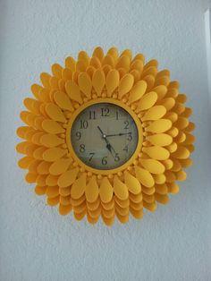 plastic spoon clock