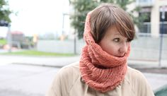 DIY: knit neck warmer. Cute color, and I love the idea of being able to pull it up over your head.