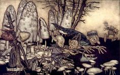 'A band of workmen, who were sawing a toadstool.' Arthur Rackham, Peter Pan in Kensington Gardens, 1906 Arthur Rackham, Peter Pan Book, J M Barrie, Classic Fairy Tales, Vintage Fairies, Fairytale Art, Find Art, Giclee Print, Illustration Art