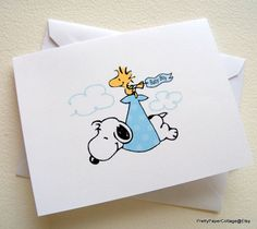 Snoopy Baby Boy Note Cards Invitations Thank by PrettyPaperCottage