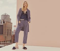 Olivia Palermo wears striped jacket, camisole top and cropped trousers from MAX&Co 2017 campaign