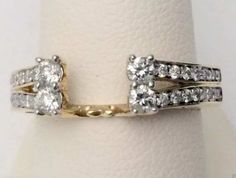 14kt Yellow Gold Diamond TwoRow Station Split Shank Solitaire Enhancer Ring Guard Wrap (0.50ct. tw)...(RG321697958241).! Price: $719.99 #14kt #gold #diamonds #ringguard #wrap #enhancer #fashion #jewelry #love #gift