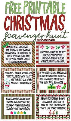 Free printable Christmas scavenger hunt clues for kids or for teens! A fun way to have kids search for presents on Christmas morning! Simply print out the riddles and go! And bonus - some fun Christmas scavenger hunt ideas for adults too! Noel Christmas, Christmas Morning, Christmas Humor, Christmas Crafts, Christmas Ideas, Kids Christmas Parties, Christmas Desserts, Christmas Decorations, Christmas Presents For Adults