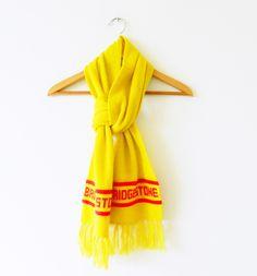 Bright Yellow Vintage Novelty Scarf / Cozy Yellow Retro Scarf / Bridgestone / 70s Promotional Winter Scarf by thehappyforest on Etsy