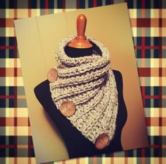 Beautiful one of a kind item crocheted by hand. It is made from an acrylic/ wool super bulky yarn. It is functional, warm, and comfortable to wear. #handmade #bostonharbor #cowl #3button