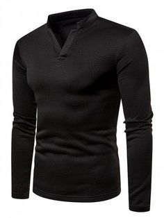 Buy V Neck Solid Color Fleece Long Sleeves T-shirt - Black - 3091351912 online, fidn many other Men's T-Shirts Superman Shirt, Style Masculin, Novelty Shirts, Mens Clothing Styles, Men's Clothing, Men Dress, Outfit, Shirt Designs, Men Sweater