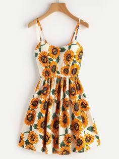 Sunflower Print Random Lace Up Back A Line Cami Dress