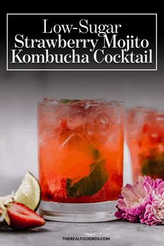 This Low-Sugar Strawberry Mojito Kombucha Cocktail is perfect for summertime. It's refreshing, fruity and only 8 grams of sugar/serving. Good Healthy Recipes, Real Food Recipes, Drink Recipes, Healthy Recepies, Cocktail Recipes, Paleo Recipes, Summertime Drinks, Summer Drinks, Kombucha Cocktail