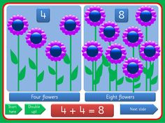 PowerPoint presentation, with a flower theme, showing doubles for the numbers 1-5. Clearly laid out , the presentation uses triggers that enable you to move through the activity at your own pace, allowing lots of opportunity for mathematical discussion. The Sassoon versions have a embedded font while the Comic Sans version is editable.