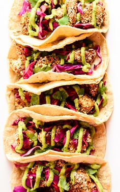 Crispy Cauliflower Tacos with Slaw & Avocado Cream - Blissful Basil Cauliflower Tacos, Cauliflower Recipes, Veggie Recipes, Mexican Food Recipes, Whole Food Recipes, Vegetarian Recipes, Cooking Recipes, Healthy Recipes, Baked Cauliflower