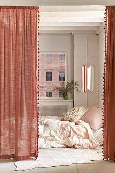 Pompom Curtain | Urban Outfitters #bedroomdesign