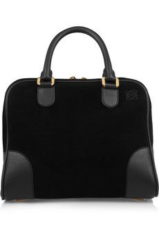 Loewe A 75 Small Suede And Leather Tote Black Handbagblack