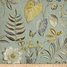 P Kaufmann Cafe Curtain Botanical Cafe Curtains Kitchen Cafe Curtain Kitchen Curtain Duck Egg Blue And Yellow, Green And Grey, Chintz Fabric, Chair Fabric, Curtain Fabric, Cafe Curtains Kitchen, Blue Cafe, Yellow Couch, Gray And White Kitchen