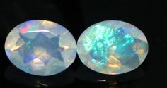 1.39 CTS +2 PCS NATURAL ETHIOPIAN WELO FIRE OPAL MULTICOLOR FACETED CUT PAIR 167