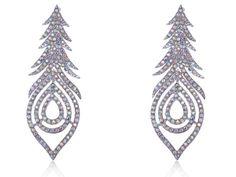 Wholesale 12pieces/lot Aurora Borealis Crystal Rhinestone Peacock Feather Leaf Big Dangle Drop Earrings