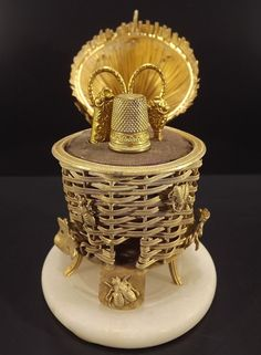 1850's Gilded Brass Sewing Etui - Beehive