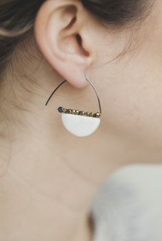 PYRITE & PORCELAIN EARRINGS