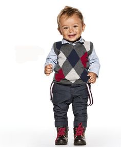 Holiday outfit for little boys: Cute sweater vest but it's the suspenders that are killing us!