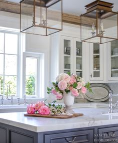 Sources for this Look- White Kitchen with Glass Cabinets - Rustic Farmhouse with a romantic French twist