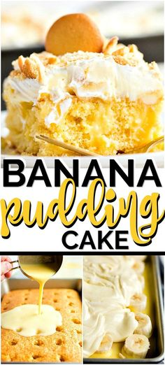 This banana pudding cake recipe is truly the perfect combination. The banana pudding and fresh bananas make it light and fruity. But the cake and use of pudding makes it creamy and moist. Think, banana cream pie, in a poke cake form! Banana Pudding Desserts, Banana Cream Pudding, Banana Recipes, Banana Cream Desserts, Banana Cream Pie Cake, Poke Cakes, Poke Cake Recipes, Layer Cakes, Fun Desserts