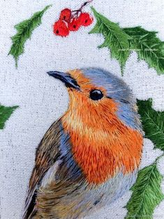 Embroidered stitch pattern Bird Robin – купить на Ярмарке Мастеров – EKIS7COM | Картины, Novorossiysk Hand Embroidery Projects, Embroidery Patterns Free, Hand Embroidery Stitches, Crewel Embroidery, Hand Embroidery Designs, Stitch Patterns, Art Patterns, Japanese Embroidery, Flower Embroidery