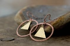 Geometric Copper Circle and Textured Triangle Earrings