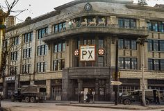 I took this evening shot of the Seoul City Command PX during the Korean War on Christmas Eve, building is now the Sin-se-kye Department Store. Work Camp, Korean War, United States Army, American Soldiers, Old Pictures, Seoul, Big Ben, City, Travel