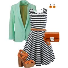 Cute for church. Blazer adds a different splash of color. May add it to belt or shoes as well.