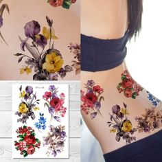 Supperb Large Temporary Tattoos - Watercolor Painting Bouquet of Summer Flowers Best Temporary Tattoos, Temporary Tattoo Paper, Permanent Tattoo, Cool Tattoos, Lotus Flower Tattoo Design, Flower Tattoos, Bouquet Tattoo, Body Makeup, Summer Flowers