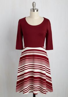Fall Dresses Sale  - For What It's Wharf Dress in Maroon Stripes