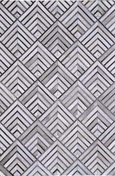 Madisons Gray/Grey Cowhide Rug - Geometric Pattern - Posh Rug