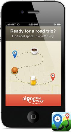 find spots along the way to your destination. an iphone app for finding food, coffee, bars, parks, shopping and more on your next road trip. instead of searching around you, along the way searches along your route making it easy to find cool spots along the way to your destination.