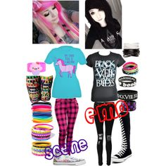 Scene vs emo by kellyjellybelly on Polyvore featuring polyvore, fashion, style, Boohoo, Converse, ASOS, claire's, Full Tilt, Keep A Breast and clothing