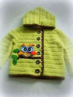 Discover thousands of images about Ravelry: Project Gallery for Crochet Springtime Friends Hoodie pattern by Anji Beane Knit Baby Dress, Crochet Baby Clothes, Crochet For Boys, Knitting For Kids, Chunky Knitting Patterns, Crochet Patterns, Baby Patterns, Pull Bebe, Baby Sweaters