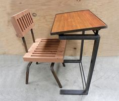Coryell drafting table, end/side table, rustic modern Homework Table, Kids Homework, Cool Furniture, Furniture Design, Rustic Side Table, My Workspace, Dream Decor, Modern Rustic, Dining Chairs