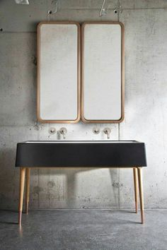 """Would be pretty to have a mirror with a clean wooden frame to """"talk to"""" but counterbalance the roughness of the wood in the cabinet."""