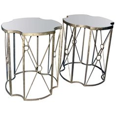 One Pair Gilt Metal And Antiques Mirrored Side/Drinks Tables | From a unique collection of antique and modern side tables at http://www.1stdibs.com/furniture/tables/side-tables/
