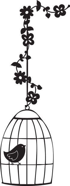 Silueta jaula de pájaro con flores. Silhouette.