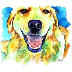 Golden Retriever Portrait Painting  -Christy Freeman