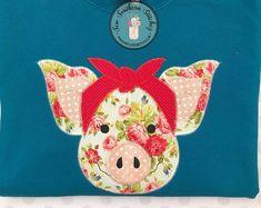 Raggedy Piggy with Headband Applique Design Quick Stitch Free Applique Patterns, Machine Applique Designs, Sewing Appliques, Applique Ideas, Quilt Patterns, Pattern Blocks, Applique Monogram, Embroidery Applique, Embroidery Patterns