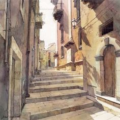'Ragusa' - watercolor by Michal Orlowski Watercolor Architecture, Watercolor Landscape, Art And Architecture, Watercolor Artwork, Watercolor Illustration, Building Painting, Artist Sketchbook, Urban Sketching, 2d Art