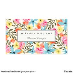 Paradise floral print business cards feature a hand painted tropical floral design with a nameplate you can customize in the front. Back of the card also features an easy to use template to fill out your personal business information.