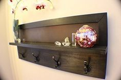 You Pick the Stain 4 Hook Wall Mounted Coat Rack with Shelf, Wall Organizer and Shelf -- More info could be found at the image url.