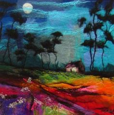Under Skinny Pines | original paintings & collectible limited edition prints | Devorgilla Gallery Dumfries - felted merino