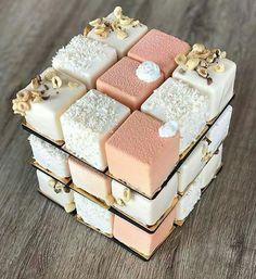 A luxurious Rubik's cube wedding cake.