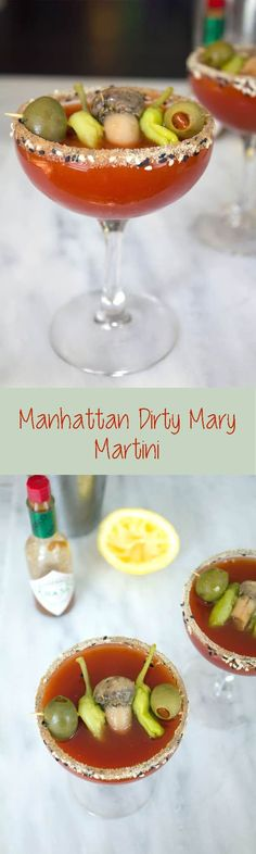 I combined my two favorite cocktail into one with this Manhattan Dirty Mary Martini -- The bloody mary and dirty martini unite!   wearenotmartha.com