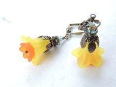 Yellow Orange Lucite Flower Earrings Flower by AllAboutClass, $22.00