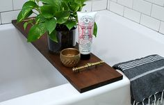 diy salvaged bathtub tray