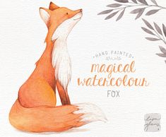 A little woodland charm! Brighten-up your creations with this sweet watercolour fox. This gentle beauty was hand painted with watercolors and lots of love. Add a whimsical touch to a birth announcement, childrens birthday invitation, or just a lovely nursery art print! Youll also