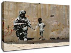 BANKSY WAR PALESTINE CANVAS ART PICTURE HUGE A1 SIZE 32 X 22 NEW   eBay